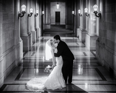 Best Glowing Black and White City Hall Wedding Image