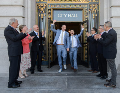 LGBT Wedding Photographer at San Francisco City Hall - Leaving