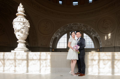 Unique Light Patters at San Francisco City Hall- Wedding Photography