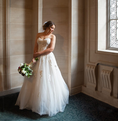 City Hall Bride in the Window Light - Wedding Photography