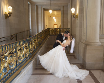 2nd Floor Bride and Groom Dance Dip Pose at City Hall