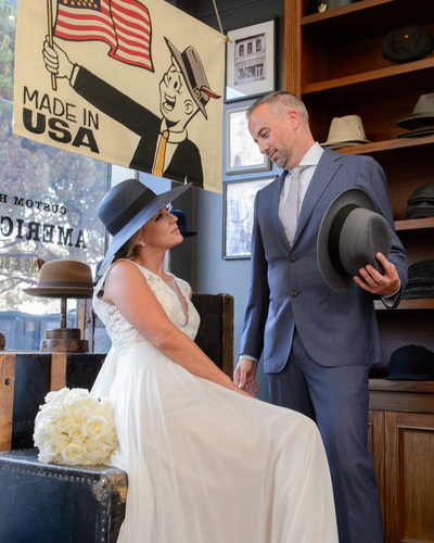 Wedding Photography at SF North Beach hat shop