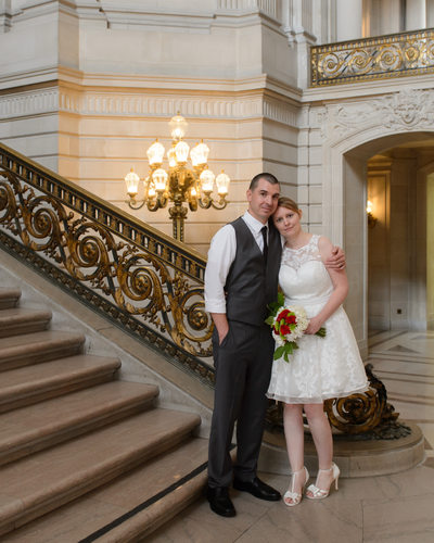 Grand Staircase hug san francisco wedding photography
