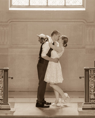 Kiss San Francisco City Hall in Sepia Tone
