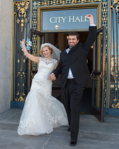 Leaving SF City Hall and celebrating their marriage