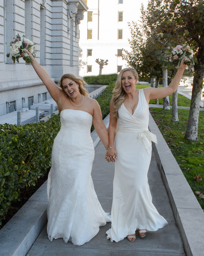 Celebrating in San Francisco at end of Lesbian Wedding
