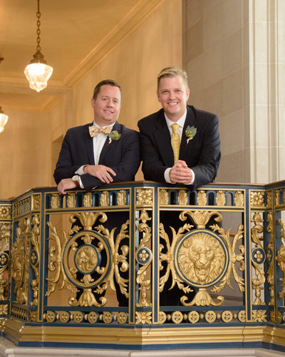 Gay City Hall Nuptials with Golden Railing