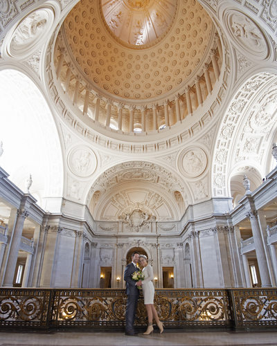 Wedding Photographer San Francisco City Hall - Gold Dome