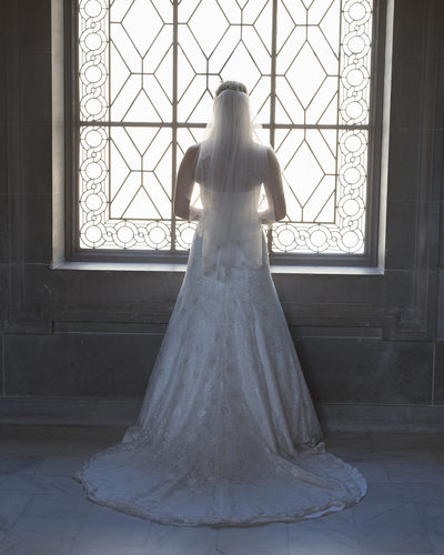 Bridal Gown in front of the 3rd Floor Window at SF City Hall