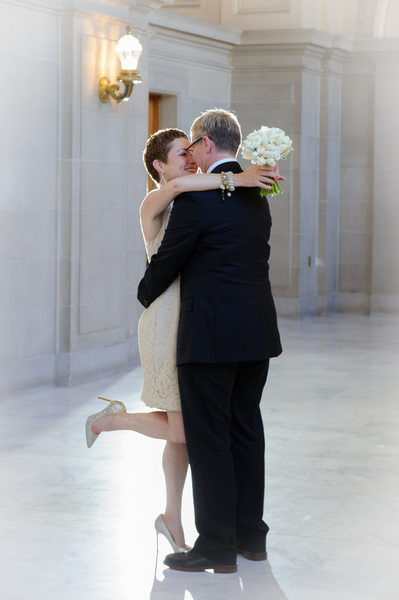 Lesbian City Hall Romantic Kiss - LGBT Weddings
