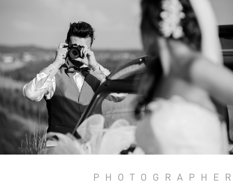 black and white wedding portrait pic