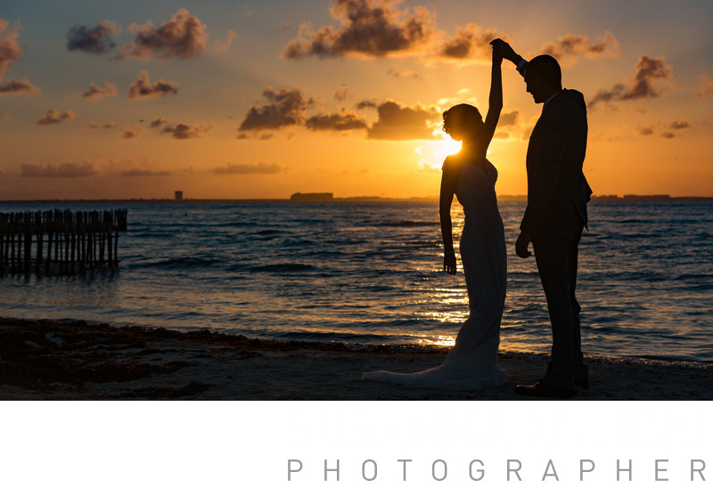 Bride and groom portrait sunset