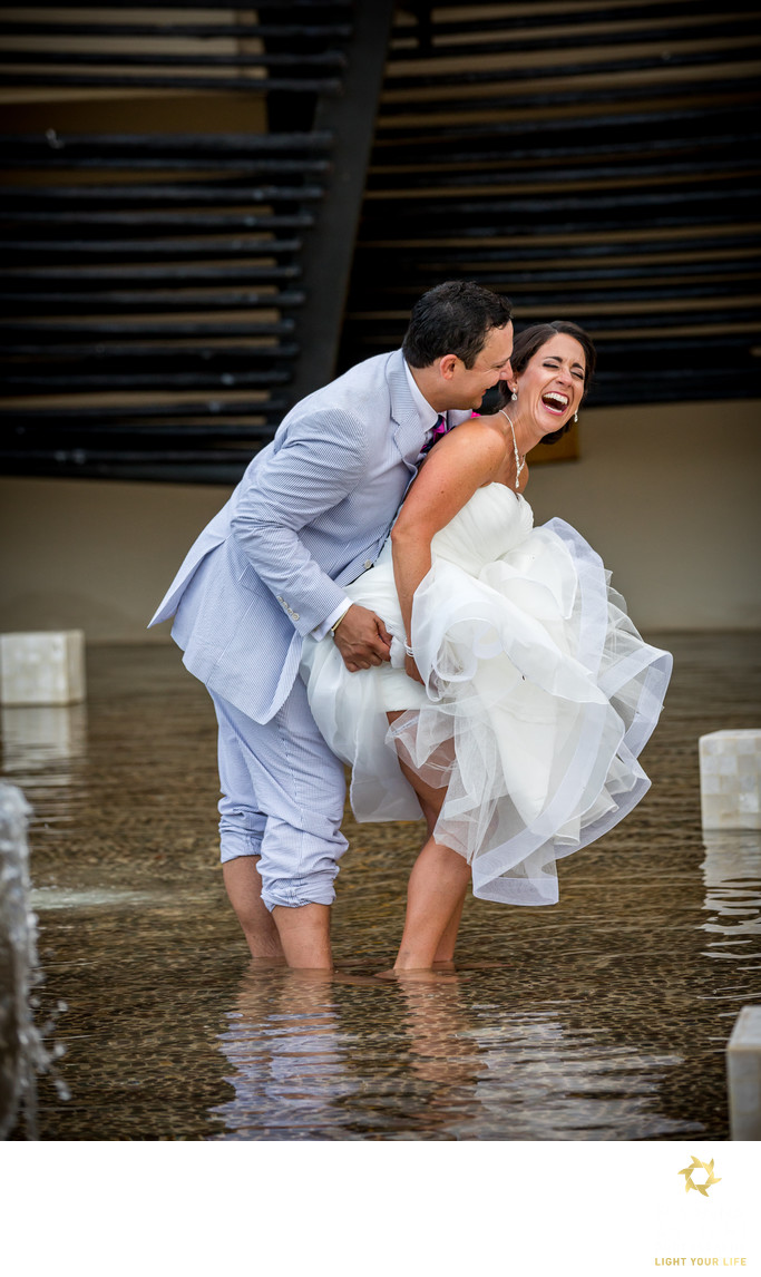 funny moment bride and groom together portrait