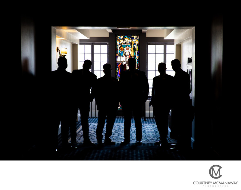 Groomsmen Silhouettes at The Mission Inn in Riverside