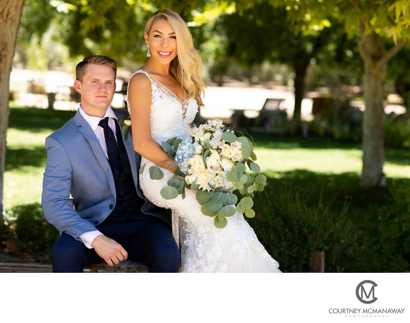 Bride and Groom at Temecula Olive Oil Company