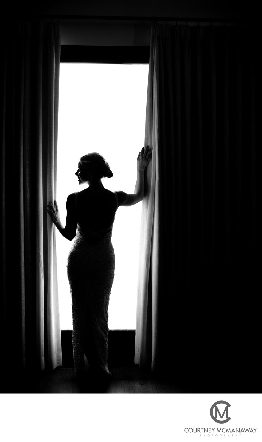 Dramatic Bridal Portrait in Black and White
