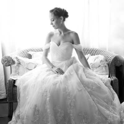 Black and White Wedding Day Bridal Portrait