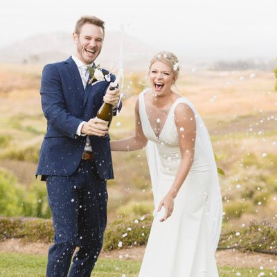 Popping Bottles at a Temecula Micro Wedding
