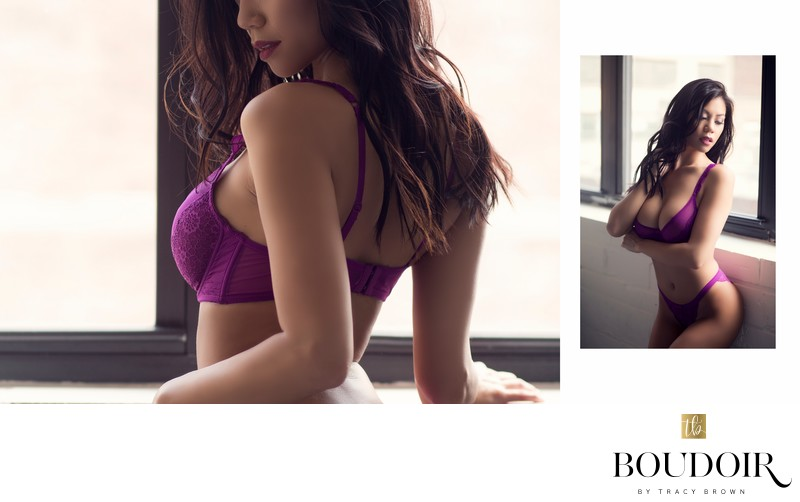 purple bra and panty set//boudoir by tracy lynn//stl