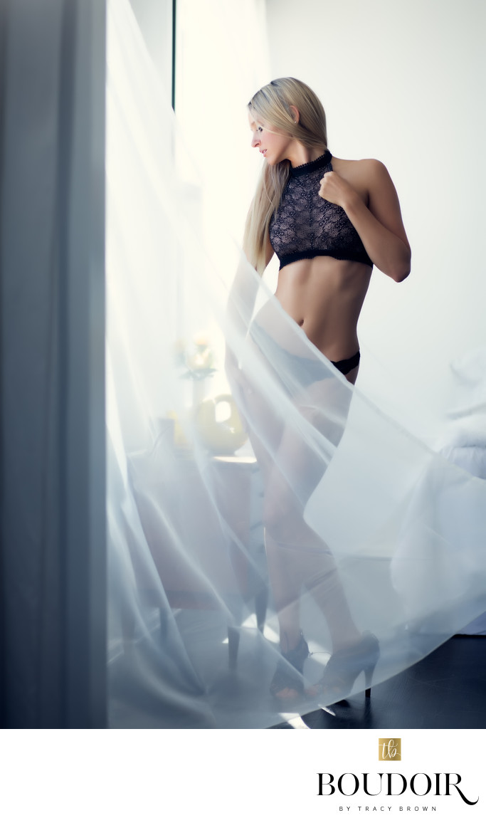Sheer curtains/ black lace/boudoir/stl
