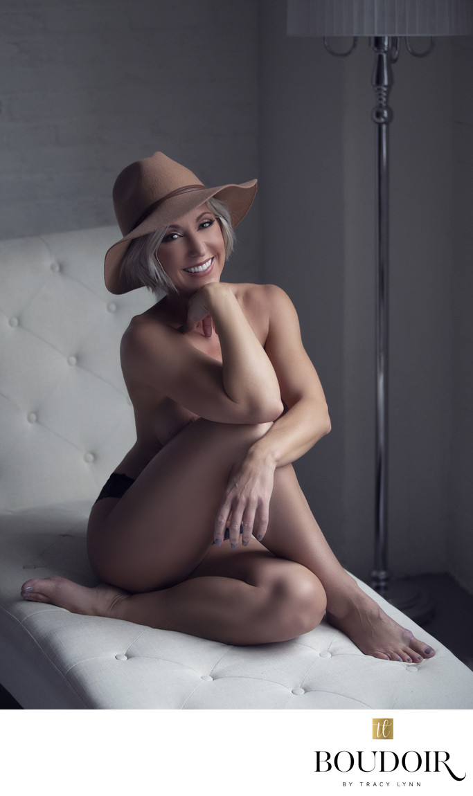 tan fedora//black lace underwear//chaise lounge//stl
