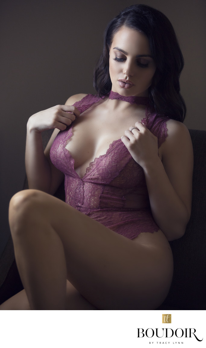 pink lace bodysuit natural light boudoir photo