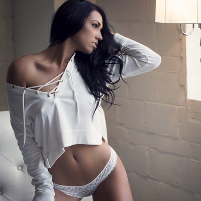 white Off the shoulder hoodie boudoir image STL