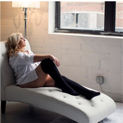 black thigh high stockings/white button up/stl boudoir