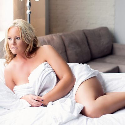 white sheets/implied nude/blonde hair/ boudoir stl