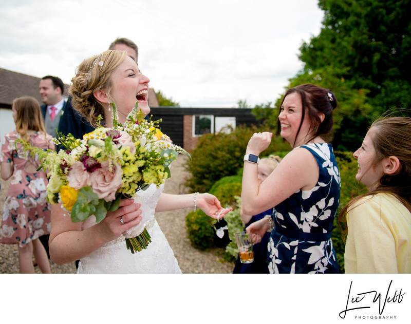 Bride Laughing Curradine Barns Wedding Venue
