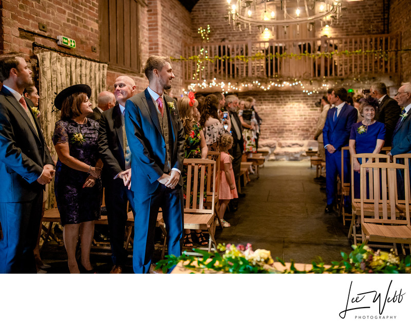 Groom Waiting Curradine Barns Wedding Venue Worcester