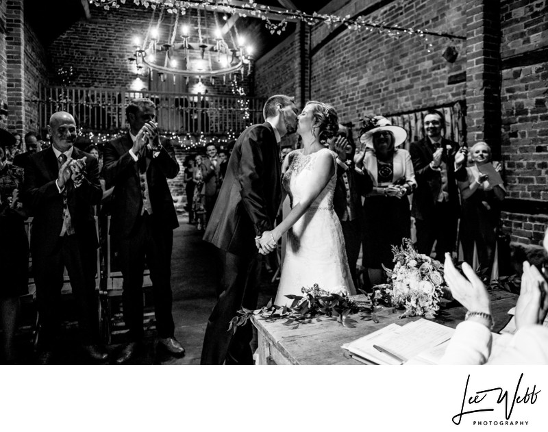 First Kiss Curradine Barns Wedding Venue Worcestershire