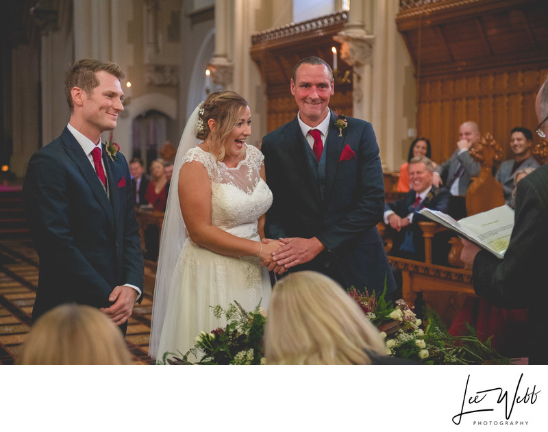 Giving Away Bride Stanbrook Abbey Wedding Venue