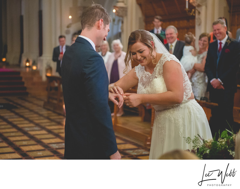Exchanging Rings Stanbrook Abbey Wedding Venue Worcester