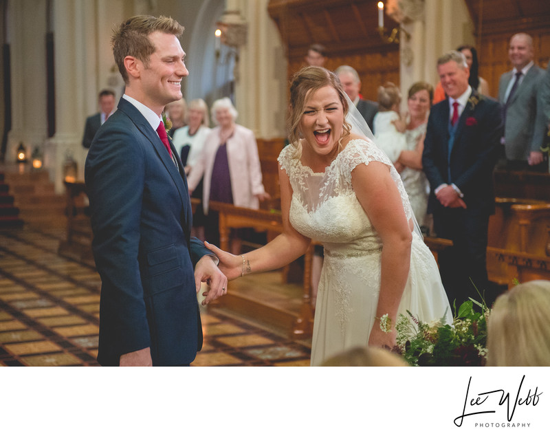 Bride Laughing Stanbrook Abbey Wedding Venue Worcester