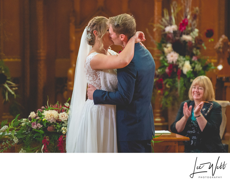 First Kiss Stanbrook Abbey Wedding Venue Worcestershire