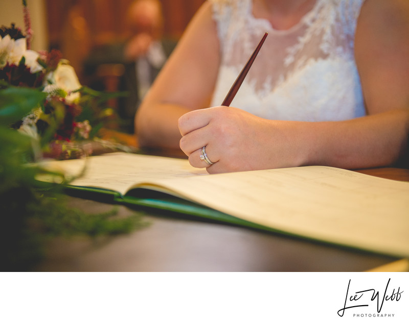 Signing Register Stanbrook Abbey Wedding Venue