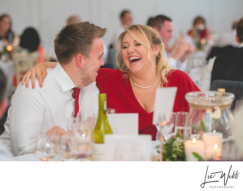 Guests laughing Stanbrook Abbey Wedding Venue Worcester