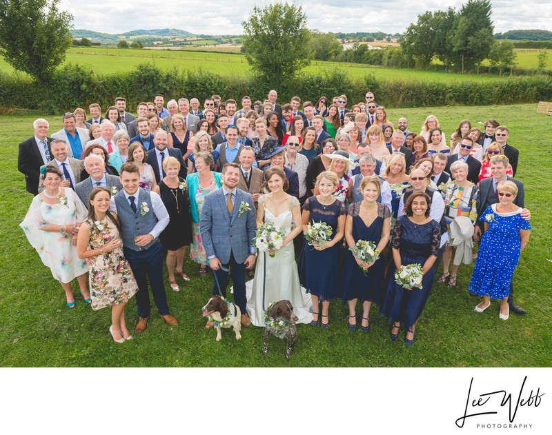 Rock Village Hall Group Wedding Photograph