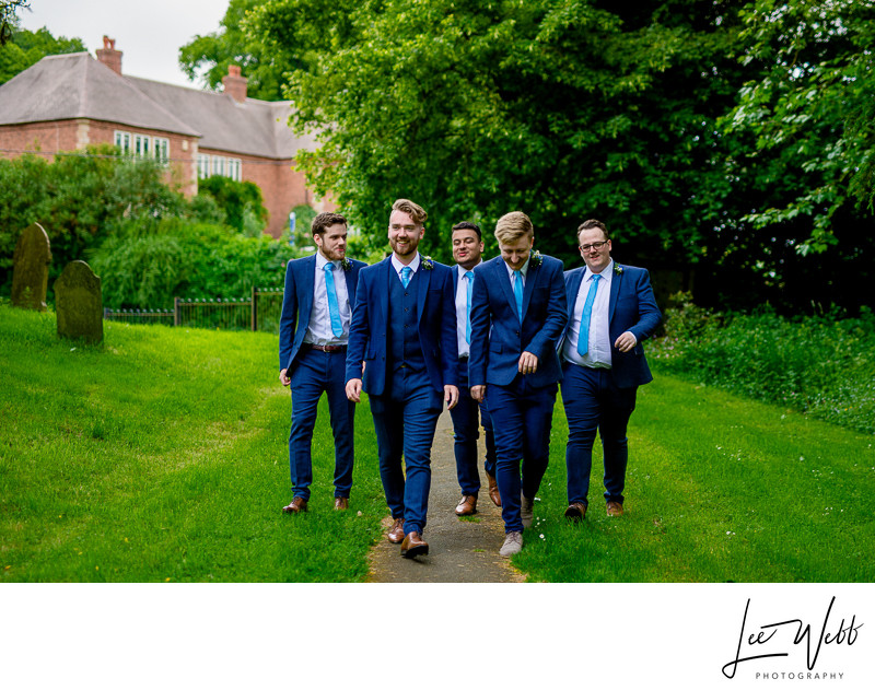 Groomsmen Walking to Church Worcester Wedding Photos