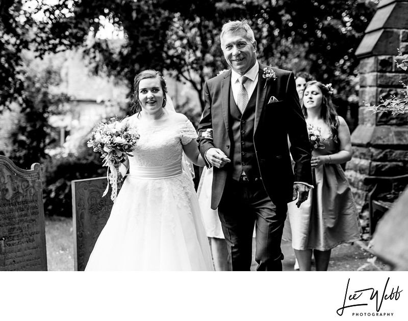 Bride and Father Wedding Photos Worcestershire