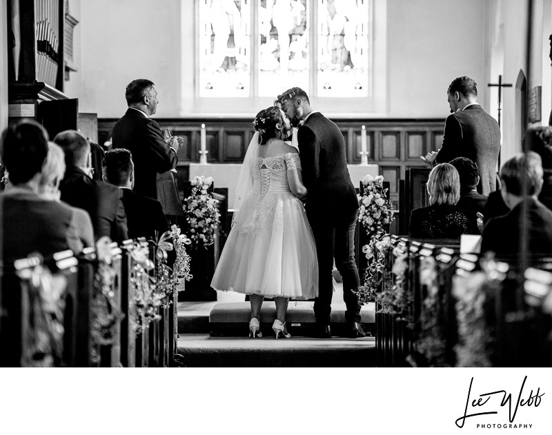 Black and White Church Wedding Photography