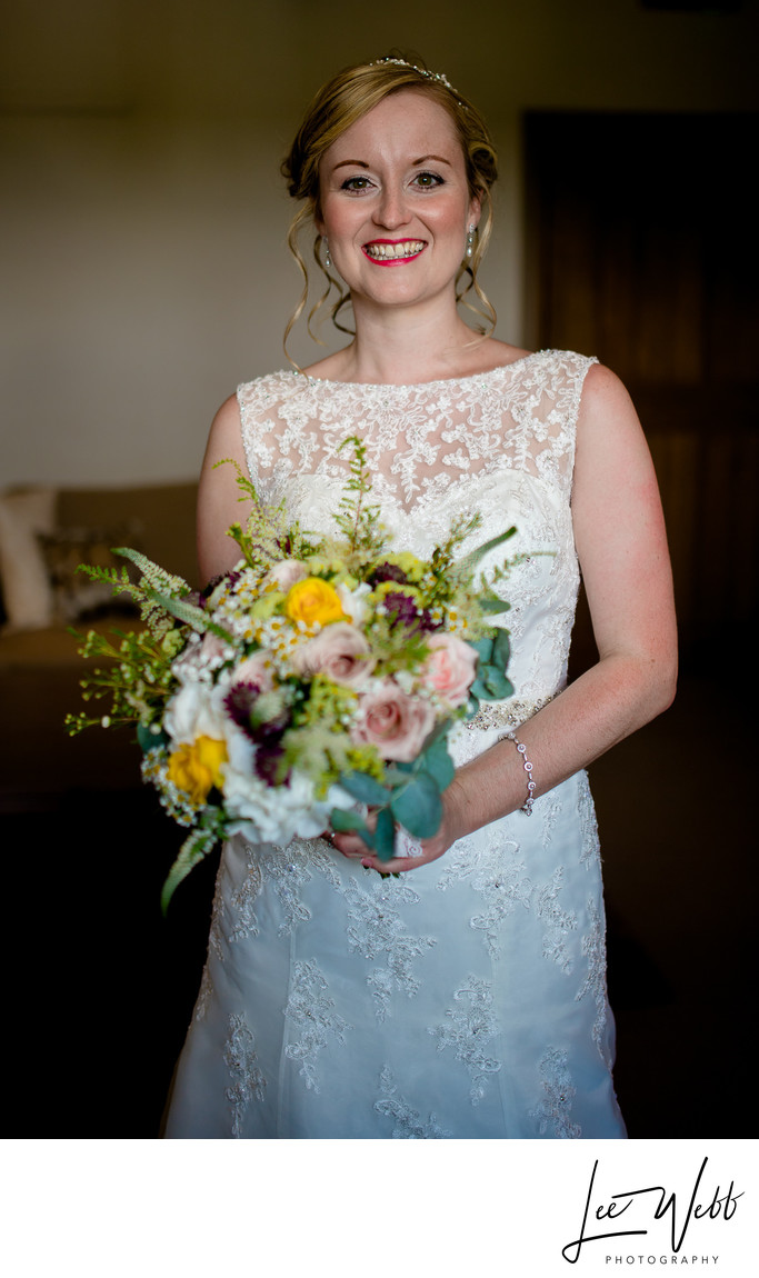 Bride Flowers Curradine Barns Wedding Photography