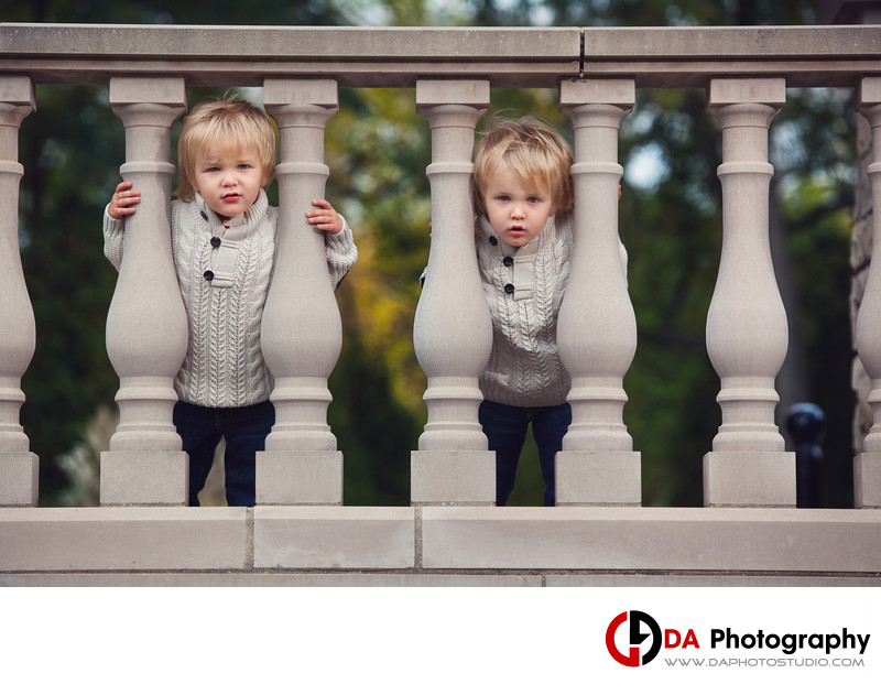 Twin Portrait at Paletta Mansion in Fall