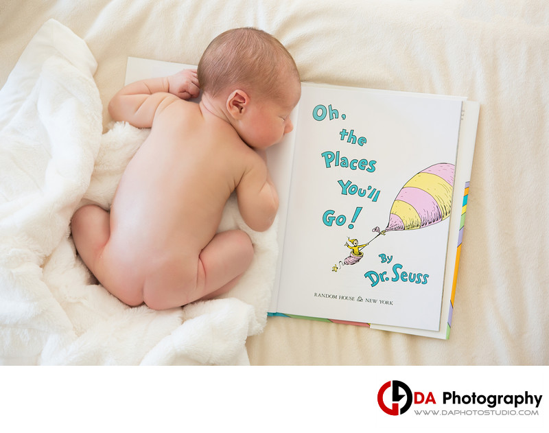 NewBorn Baby Portrait with Dr. Seuss Book