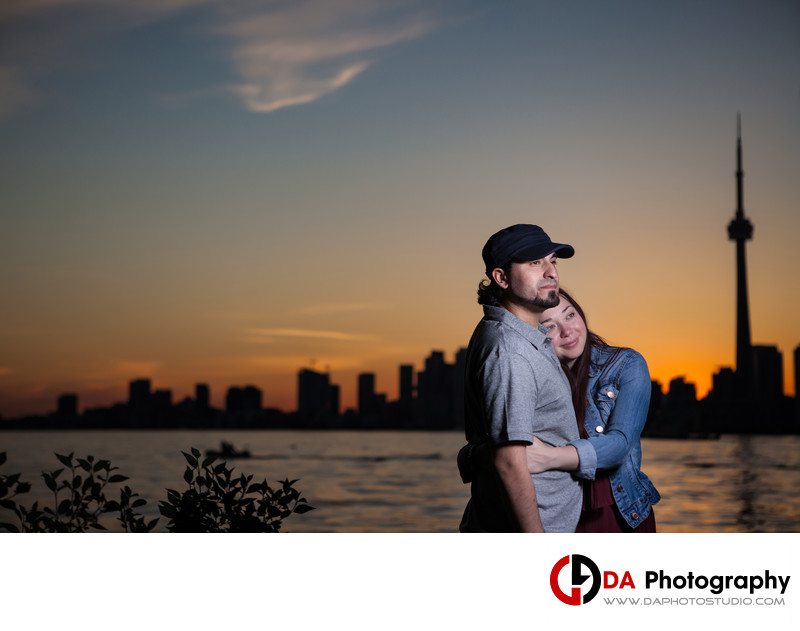 Engagement at Sunset with Toronto Skyline