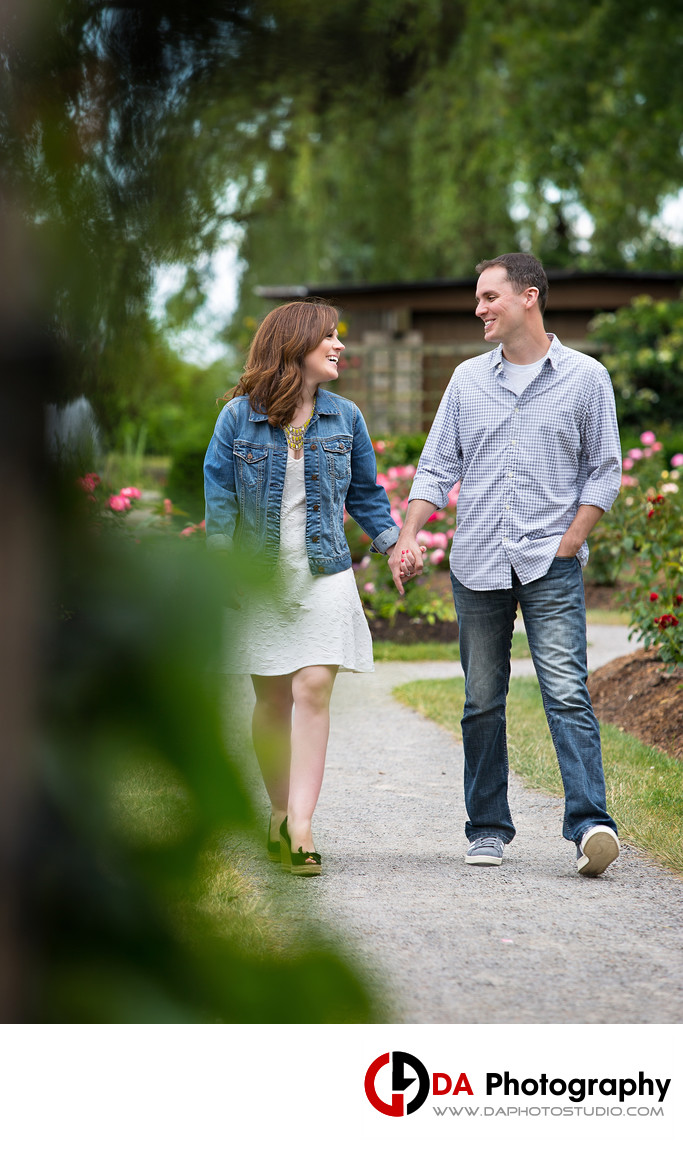 Engaged Couple at Gairloch Gardens in Oakville