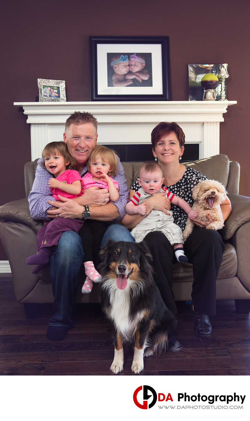 Family Portrait with twins and pets in Ottawa
