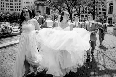 Walking Downtown Indianapolis Wedding Photography
