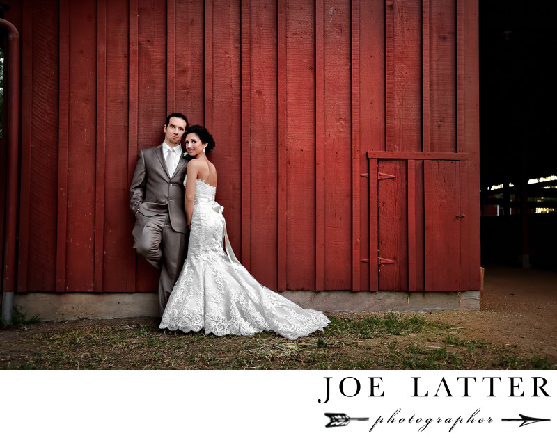 Rustic Barn Wedding photograph of the Bride and Groom